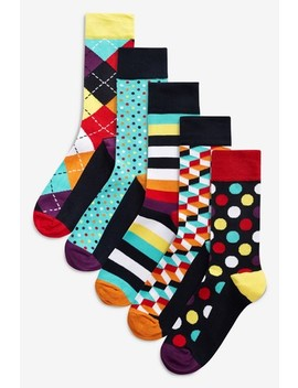 Bright Geometric Socks Five Pack by Next