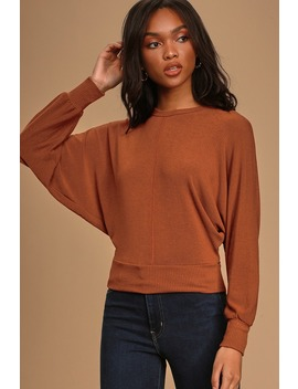 Luna Rust Red Batwing Sleeve Sweater Top by Project Social T