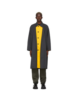 Grey & Yellow Wool Check Trench Coat by N.Hoolywood