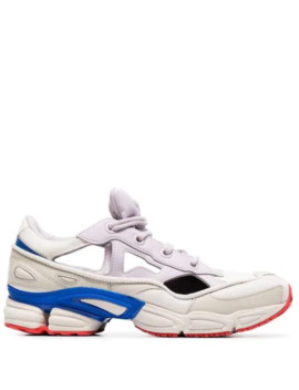 White, Red And Blue Ozweego Sneakers With Socks by Adidas By Raf Simons