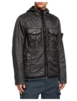 Men's Lightweight Nylon Hooded Jacket by Stone Island