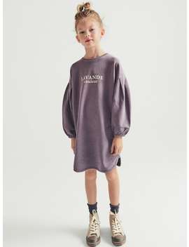 Plush Jersey Dress With Slogan by Zara