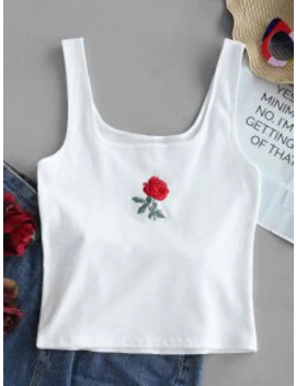 Hot Rose Embroidery Ribbed Tank Top   White M by Zaful
