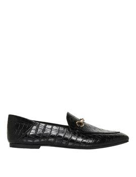 Dani Black Croc Print Leather Loafer by Windsor Smith