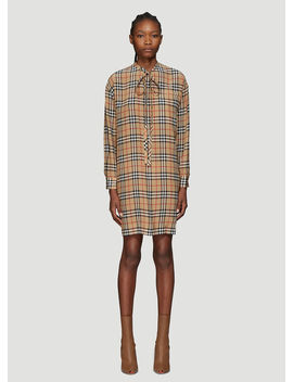 Vintage Check Tie Neck Dress In Beige by Burberry