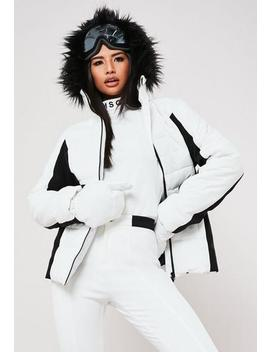 Msgd Ski White Padded Jacket With Mittens by Missguided