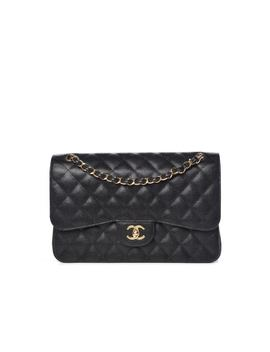 Chanel Classic Double Flap Quilted Caviar Gold Tone Jumbo Black by Stock X