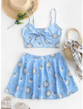 Salezaful Knotted Smocked Star Sun And Moon Top And Skirt Set   Light Sky Blue L by Zaful