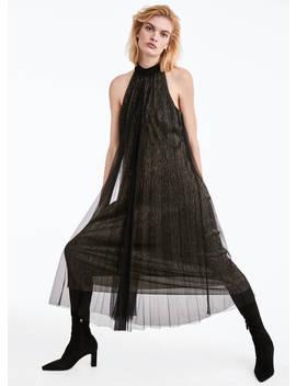 Платье с плиссировкой и горловиной халтер by Uterqüe