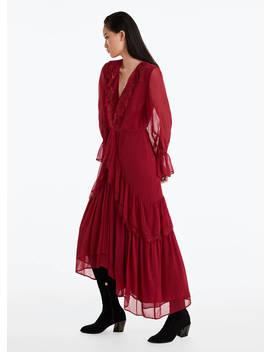 Красное платье с кружевом by Uterqüe