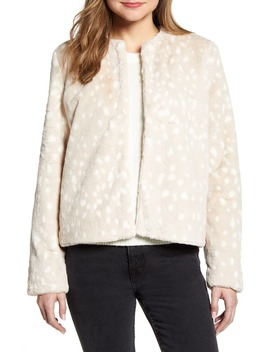 Print Faux Fur Jacket by Rachel Parcell