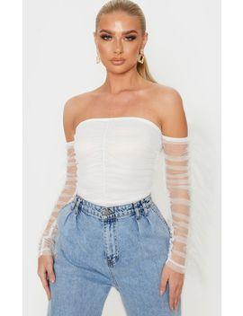 White Mesh Frill Sleeve Bardot Bodysuit by Prettylittlething