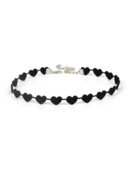 Sale Velour Heart Choker Necklace   Black by Zaful