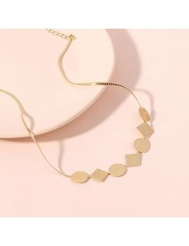 Vonluxe   Alloy Square & Disc Necklace by Vonluxe