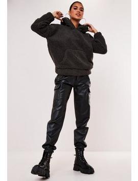 Grey Borg Teddy Pocket Hoodie by Missguided