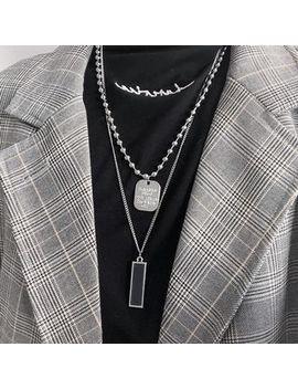 Pompabee   Bar Pendant Layered Necklace by Pompabee
