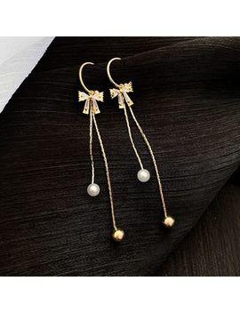 Miasip   Faux Pearl Rhinestone Bow Fringed Earring by Miasip