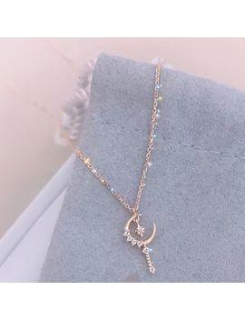 Burmastin   Rhinestone Moon & Star Pendant Necklace by Burmastin