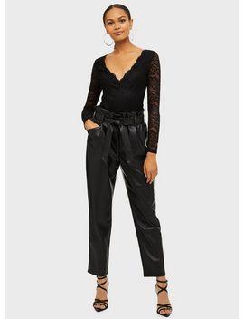 Black Long Sleeve Lace V Neck Bodysuit by Miss Selfridge