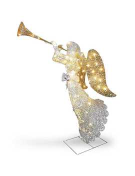 Pre Lit Crystal Sisal Trumpeting Angel Statue by Kirkland's