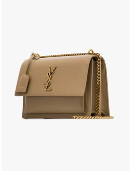 Beige Sunset Leather Shoulder Bag by Saint Laurent