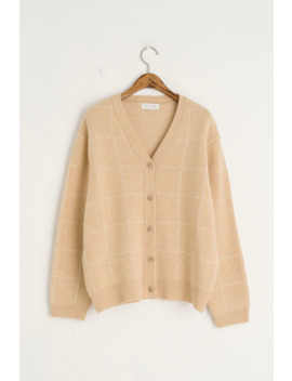 Check V Neck Cardigan, Custard by Olive