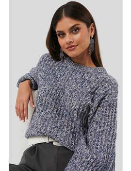 Multi Color Balloon Sleeve Knitted Sweater Blau by Na Kd