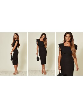 Jayne Black Frill Sleeve Midi Dress With Square Neck by Wal G