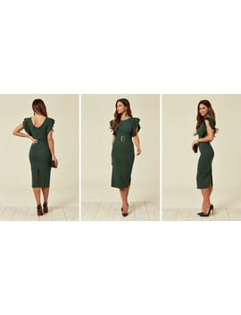 Ella Forest Green Ruffle Sleeve Midi Dress With Gold Buckle by Wal G