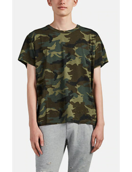 Distressed Camouflage Cotton T Shirt by Amiri