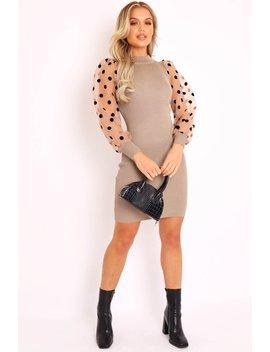 Light Khaki Polka Puff Sleeve Knit Ribbed Mini Dress   Amai by Rebellious Fashion