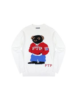 Ftp Bear Knit Sweater White by Stock X