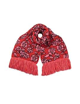 Rose Fringed Red & Pink Knitted Scarf by Olivar Bonas