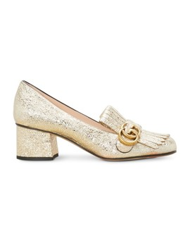 Metallic Mid Heel Pump by Gucci