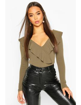 Ruffle Long Sleeved Bodysuit by Boohoo