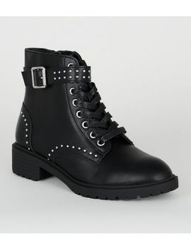 Girls Black Studded Lace Up Boots by New Look