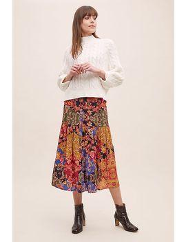 Kachel Diarra Mixed Print Tiered Skirt by Kachel