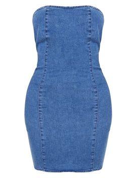 Shape Indigo Strapless Denim Bodycon Dress by Prettylittlething