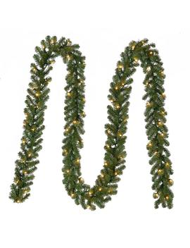 18 Ft. Pre Lit Artificial Kingston Christmas Garland With 280 Tips And 70 Clear Lights by Home Depot