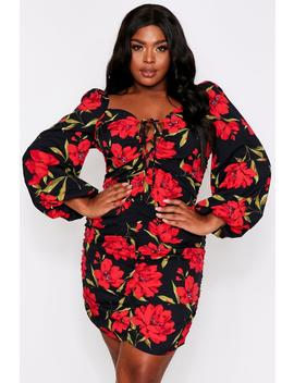 Floral Ruched Fruit Balloon Sleeve Dress Floral Ruched Fruit Balloon Sleeve Dress by Misspap