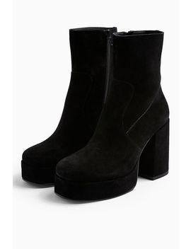 Hogan Leather Black Platform Boots by Topshop