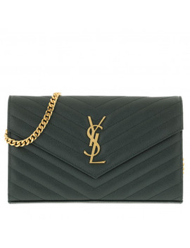 Ysl Monogramme Chain Wallet Light Blue Dark Mint by Saint Laurent