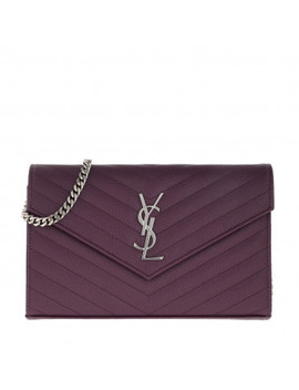 Ysl Chain Wallet Monogramme Envelope Prunia by Saint Laurent