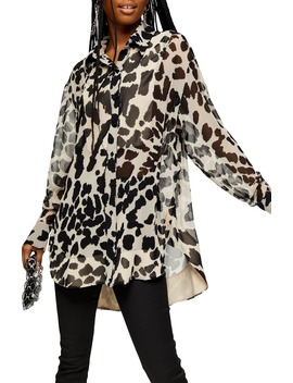 Animal Print Sheer Oversized Shirt by Topshop