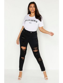Plus Distressed High Rise Stretch Skinny Jean by Boohoo