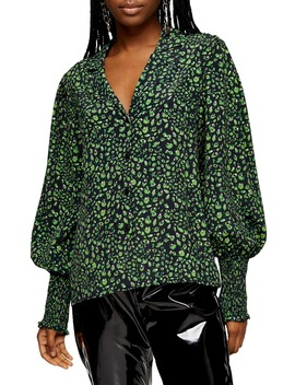 Print Balloon Sleeve Blouse by Topshop