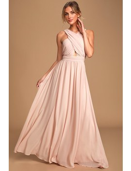 Divine Inspiration Blush Halter Maxi Dress by Lulus