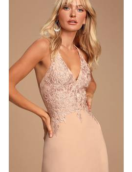 Love You Truly Blush Pink Crochet Lace Maxi Dress by Lulus