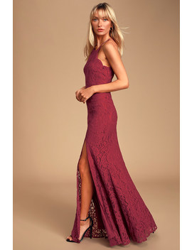 Splendor Of Love Wine Red Lace Maxi Dress by Lulus