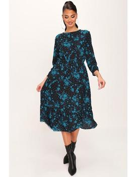 Green Floral Woven Crop Sleeve Floaty Midi Dress by I Saw It First